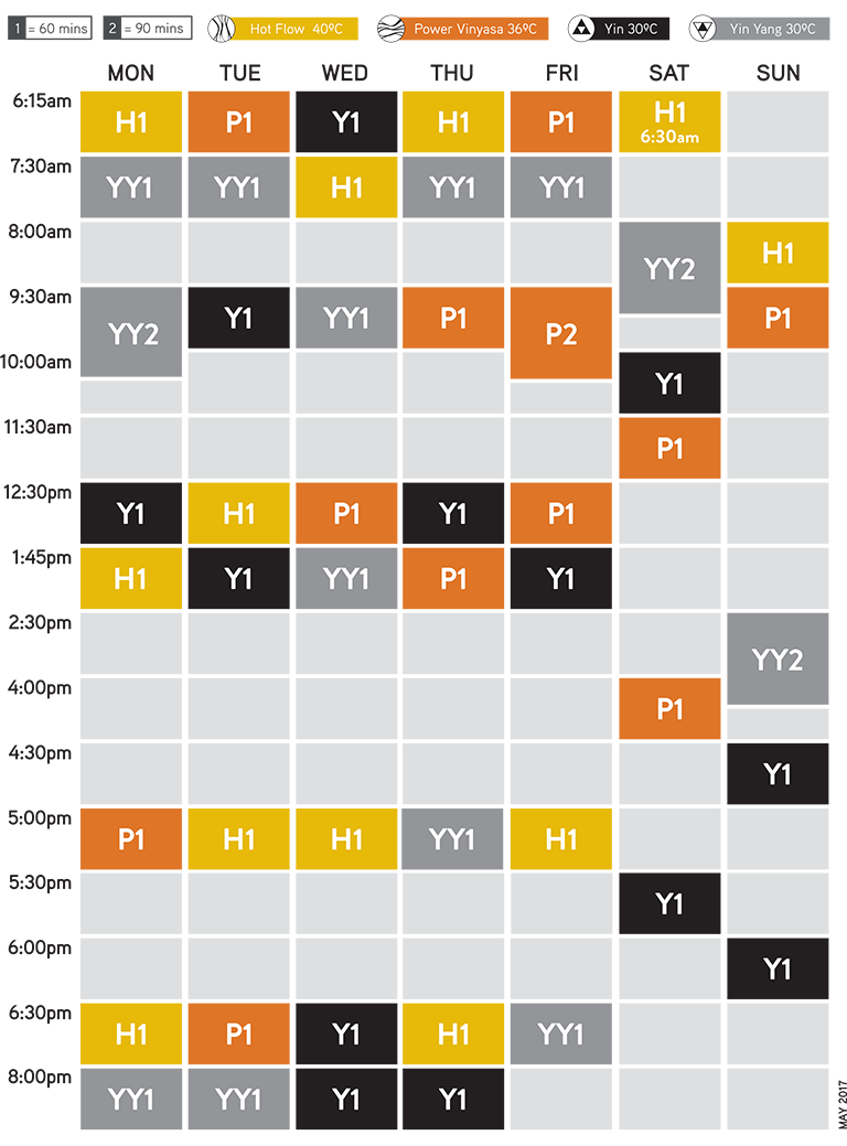 Flow Hot Yoga Timetable as of May 2017
